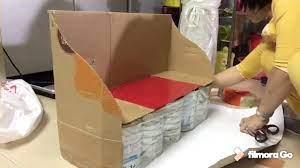 Làm ghế sofa từ vỏ hộp sữa - YouTube