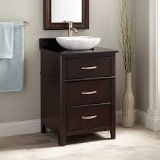 vivacious amazing brown tall semi recessed vessel sink and mirror plus blue towel