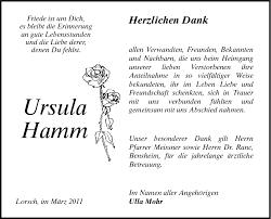 Ursula Hamm - Danksagungen - Bergsträßer Anzeiger - Trauerportal ...