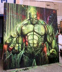 artist shane grammer painted a large scale 8 x8 painting of the incredible hulk