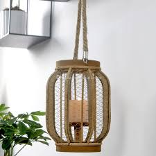 wrought iron mesh candle lantern with windproof glass cylinder american industrial style hanging hurricane lamp with jute handle votive candle holder votive