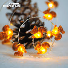 Battery Life Led Christmas Lights Squirrel Christmas Led String Lights 10ft Copper Wire