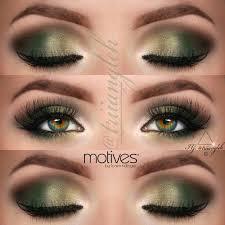 gold and dark green smokey eye