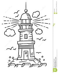 Costruzione Del Faro Sulla Roccia Illustrazione Vettoriale