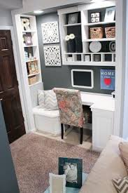 office area in living room. Corner Desk And Sitting Area, Dark Gray Closet Changed Into An Office Area In Living Room P