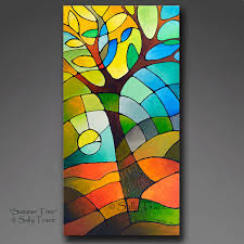 summer tree giclee prints from my original abstract geometric tree painting