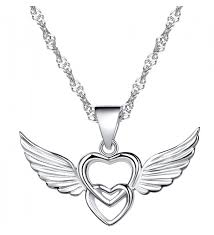 infinite u 925 sterling silver double hearts angel wings pendant necklace rose gold silver