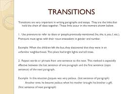 Transition Essay Examples Transitions For Essays Tools For Writing Transitions