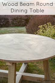 wood beam round dining table diy tutorial build plans