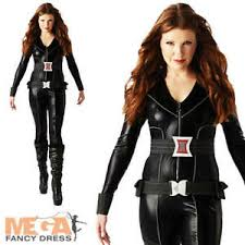 Details About Black Widow Superhero Ladies Fancy Dress The Avengers Costume Outfit Uk 6 18