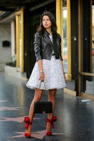 how to wear black leather biker jacket white lace party dress red suede
