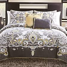 5 piece istanbul gray and yellow queen bedding set photo
