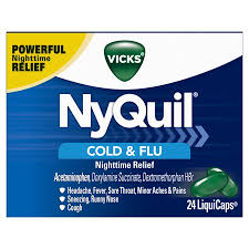 Vicks Nyquil Cough Cold Flu Nighttime Relief 24 Liquicaps 1 Pharmacist Recommended Nighttime Sore Throat Fever And Congestion Relief