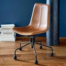 Brown Leather Office Chair Smart Desk Elegant Slope  Swivel And Beautiful D47