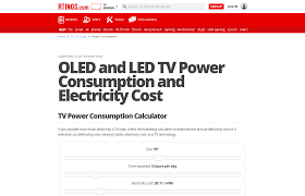 Electricity Usage Comparison Chart Oled And Led Tv Power Consumption And Electricity Cost