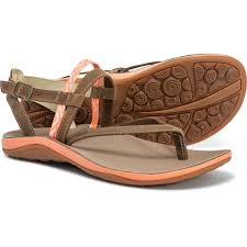 chaco loveland strappy sandals leather for women in stepped peach