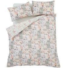 catherine lansfield café de paris cotton rich duvet cover set pink