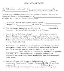 Sublease Form Apartment Sublease Template