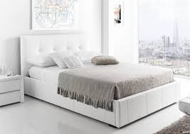 kaydian hexham upholstered storage drawer bed  white leather