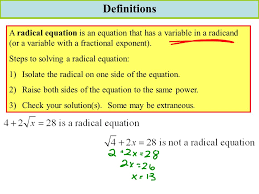 definitions a radical equation is an equation that has a variable in a radicand or