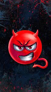 Angry devil, emoji, red devil, tail, HD ...