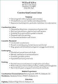 General Laborer Resume Fresh Construction Worker Skills Resume