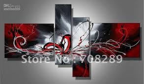 red white black wall art