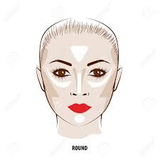 contour and highlight makeup contouring round face make up fashion ilration stock vector