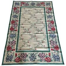 viyet designer furniture rugs stark carpet vintage portuguese needlepoint rug with fl design
