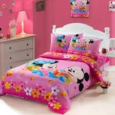 minnie mouse sheets deep pink mickey mouse print bedding set single twin size comforter duvet cover
