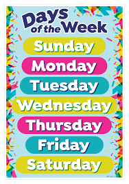 Days Of The Week Chart Days Of The Week Smart Chart Top Notch Teacher Products Inc