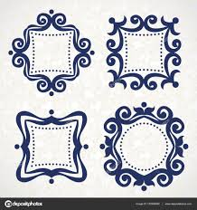 blue filigree frames stock vector