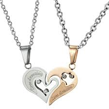 sterling silver necklace for girlfriend couple jewelry gold best couple necklace