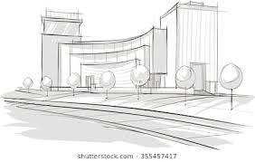 modern architectural sketches. Wonderful Sketches Sketch Drawing Of Modern Architecture Vector Image Intended Modern Architectural Sketches I