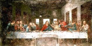photo of leonardo da vinci s the last supper a long white table sits in a