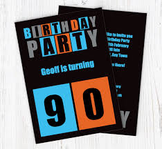 90 Birthday Party Invitations Cut Out 90th Birthday Party Invitations