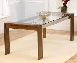 roma solid walnut dining table with chrome struts and glass top me home furnishings