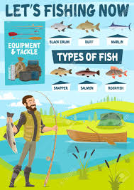 Fisherman Standing On River Bank With Catch Fish Rod Boat And