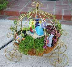 Miniature Fairy Garden - CINDERELLA in the gold pumpkin carriage dancing  with Prince Charming at the