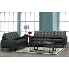 modern italian leather couch ner mid century modern dark grey top grain leather tufted sofa