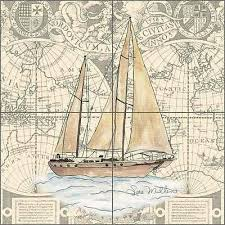 Boat Chart Nautical Tile Backsplash Mullen Sailboat Boat Chart Art