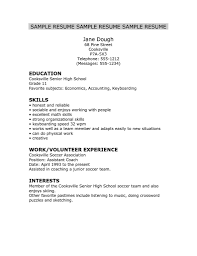 Sample Resume No Work Experience High School Students New High