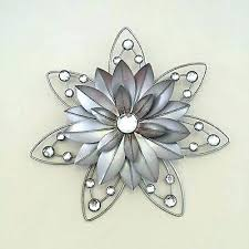 j8992752 antique metal flower wall decor silver metal wall decor stunning flower diamante jewelled rustic metal  on metal flower wall art canada with metal flower wall decor canada stratton home decor tricolor metal