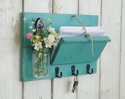 Unique Rustic Wood Mail and Key Holder. Farmhouse Wall Decor Organizer..Key  Hooks