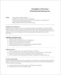 Skills Summary Resume Examples Skills Summary Resume Sample Skills