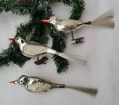 Alter Christbaumschmuck Aus Glas 3 Vögel Lauscha Silber