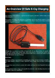 E Cig Compatibility Chart An Overview Of Safe E Cig Charging By Kevin Gibsone Issuu