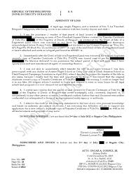 Sample Affidavit Of Lost Title Notary Public Civil Law Common Law