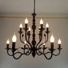 luxury rustic wrought iron chandelier e14 candle black vintage rustic round iron chandelier