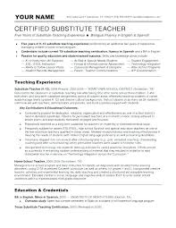 Teaching Resumes Extraordinary Sample Substitute Teacher Resume Objective Teaching Resumes Examples